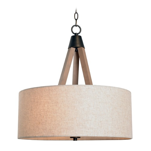 Kenroy Home Lighting Mid-Century Modern Pendant Light Aged Metal with Light Wood Peak by Kenroy Home 93943LWD
