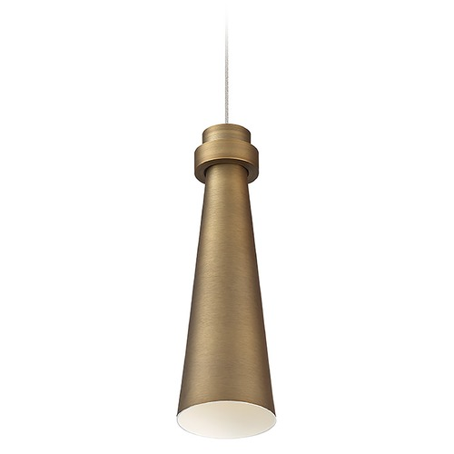 WAC Lighting Wac Lighting Future Aged Brass LED Mini-Pendant Light with Conical Shade PD-72912-AB