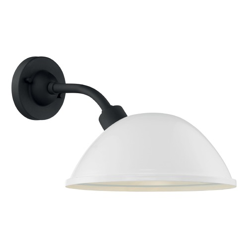 Satco Lighting Satco Lighting South Street Gloss White / Textured Black Outdoor Wall Light 60/6906