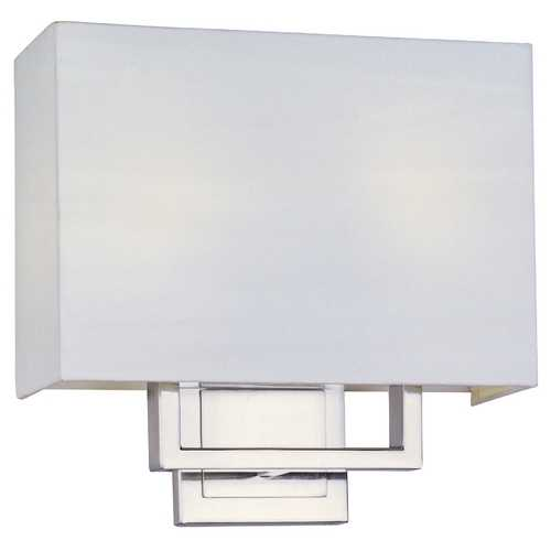 ET2 Lighting Modern Sconce Wall Light with White Shades in Satin Nickel Finish E21094-01SN