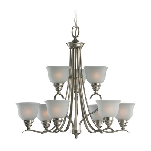 Sea Gull Lighting Chandelier with White Glass in Brushed Nickel Finish 31627-962