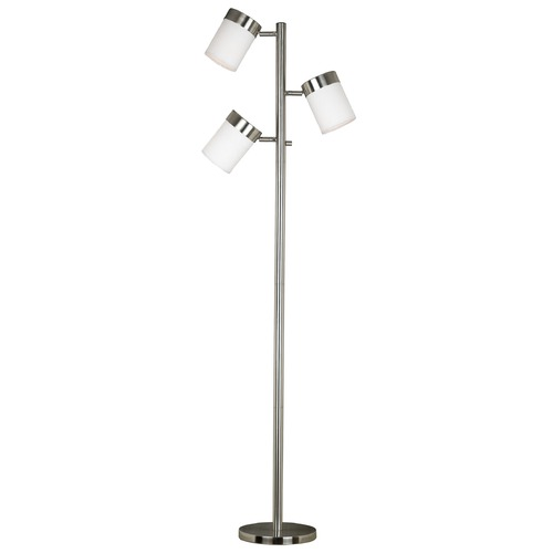 Kenroy Home Lighting Modern Floor Lamp with White Glass in Brushed Steel Finish 20970BS