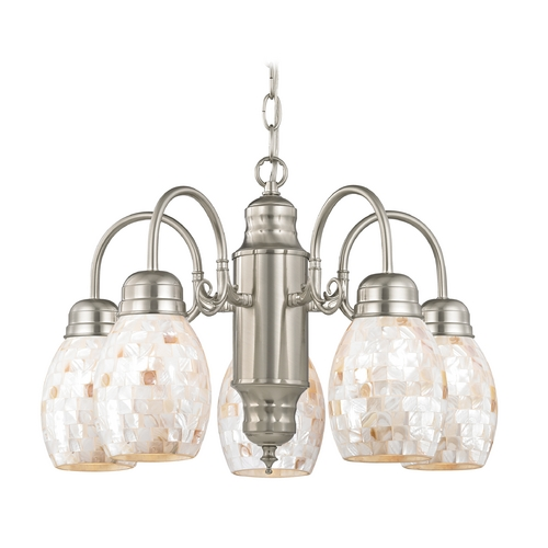 Design Classics Lighting Mini-Chandelier with Mosaic Glass in Satin Nickel Finish 709-09 GL1034