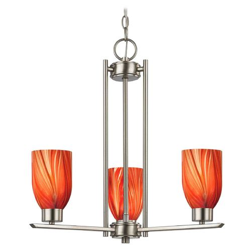 Design Classics Lighting Chandelier with Red Glass in Satin Nickel Finish - 3-Lights 1121-1-09 GL1017D
