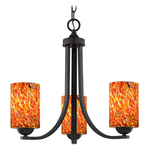 Design Classics Lighting Bronze 3 Light Mini-Chandelier with Circus Glass Shade 5843-220 GL1012C