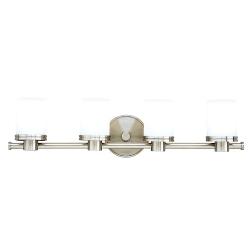 Hudson Valley Lighting Modern Bathroom Light with White Glass in Satin Nickel Finish 2054-SN
