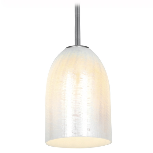Access Lighting Access Lighting Julia Inari Silk Brushed Steel Mini-Pendant Light 28018-1R-BS/WWHT