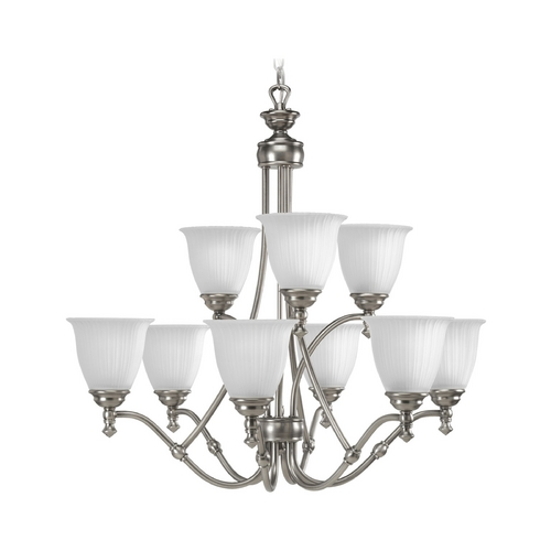 Progress Lighting Progress Chandelier with White Glass in Antique Nickel Finish P4509-81