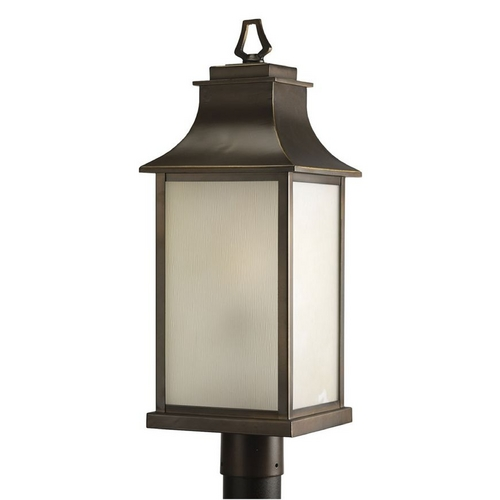 Progress Lighting Progress Post Light with Amber Glass in Oil Rubbed Bronze Finish P5453-108