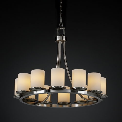 Justice Design Group Justice Design Group Fusion Collection Chandelier FSN-8768-10-OPAL-NCKL