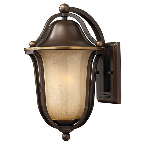 Hinkley Lighting Light Amber Seeded Glass Outdoor Wall Light Bronze Hinkley Lighting 2634OB