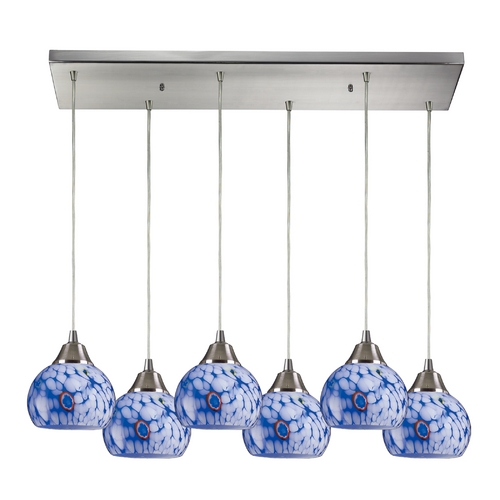 Elk Lighting Modern Multi-Light Pendant Light with Blue Glass and 6-Lights 101-6RC-BL