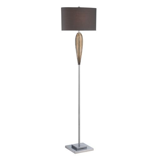 Lite Source Lighting Lite Source Lighting Ofra Chrome, Smoked Amber Floor Lamp with Oval Shade LS-82722