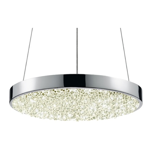 Sonneman Lighting Sonneman Dazzle Polished Chrome LED Pendant Light with Drum Shade 2565.01