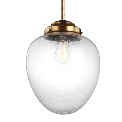 Feiss Lighting Feiss Alcott Aged Brass Pendant Light with Oval Shade P1401AGB
