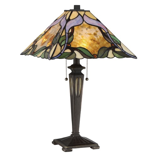 Quoizel Lighting Quoizel Lighting Tiffany Imperial Bronze Table Lamp with Square Shade TF2591TIB