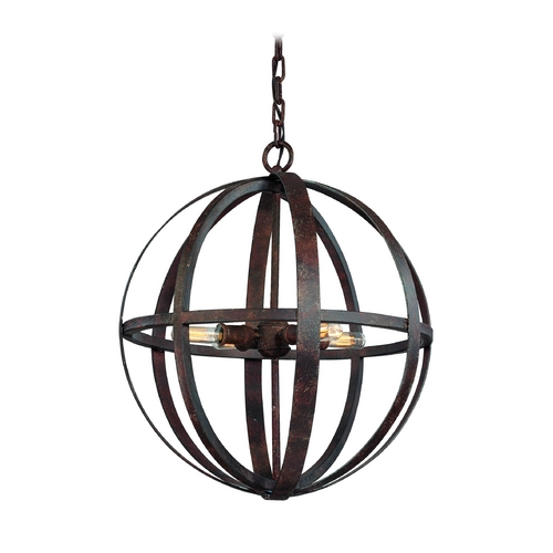 Troy Lighting Small Orb Pendant Light in Weathered Iron Finish - 4-Lights F2514WI