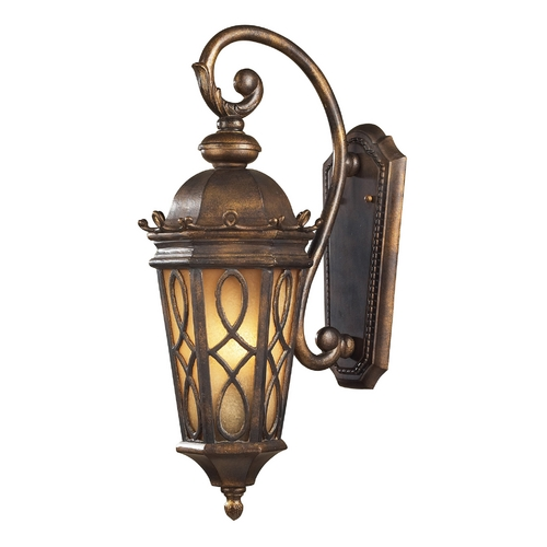 Elk Lighting Outdoor Wall Light with Beige / Cream Glass in Hazlenut Bronze Finish 42001/2