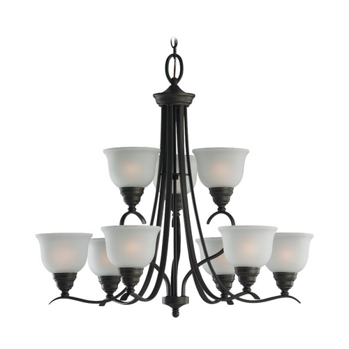 Sea Gull Lighting Chandelier with White Glass in Heirloom Bronze Finish 31627BLE-782