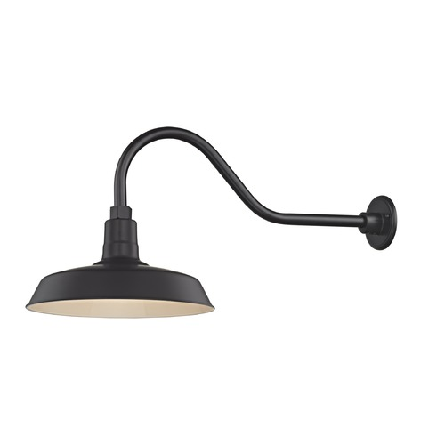 Recesso Lighting by Dolan Designs Black Gooseneck Barn Light with 14-Inch Shade BL-ARMQ-BLK/BL-SH14-BLK