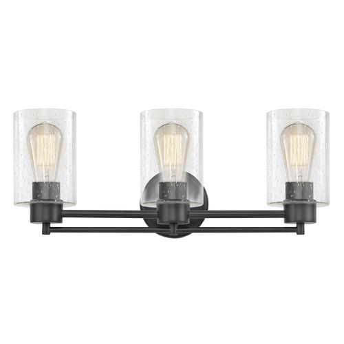 Design Classics Lighting Industrial Seeded Glass Bathroom Light Black 3 Lt 703-07 GL1041C