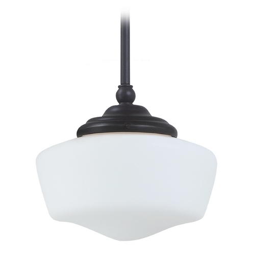 Sea Gull Lighting Schoolhouse Mini-Pendant with White Glass in Heirloom Bronze Finish 65436BLE-782