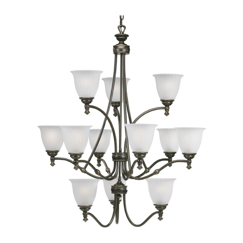 Progress Lighting Progress Chandelier with White Glass in Forged Bronze Finish P4510-77
