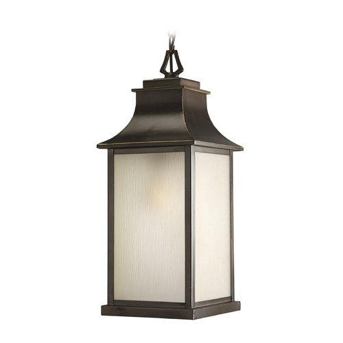 Progress Lighting Progress Oil Rubbed Bronze Outdoor Hanging Light with Amber Glass P5554-108