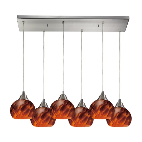 Elk Lighting Modern Multi-Light Pendant Light with Brown Glass and 6-Lights 101-6RC-ES