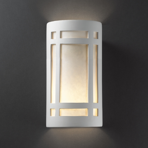 Justice Design Group Sconce Wall Light with White in Bisque Finish CER-5495-BIS