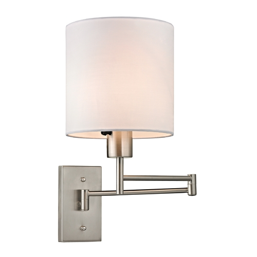 Elk Lighting Modern Swing Arm Lamp with White Shade in Brushed Nickel Finish 17150/1