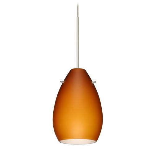 Besa Lighting Besa Lighting Pera Satin Nickel LED Mini-Pendant Light with Oblong Shade 1XT-171380-LED-SN