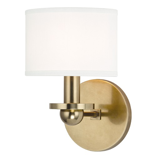 Hudson Valley Lighting Kirkwood 1 Light Sconce Drum Shade - Aged Brass 1511-AGB-WS