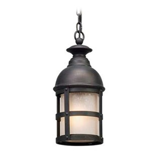 Troy Lighting Seeded Glass with Frosted Inside LED Outdoor Hanging Light Bronze Troy Lighting FL5157