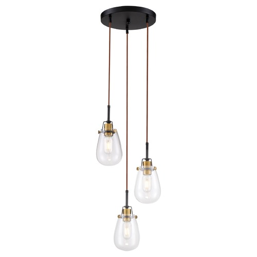 Nuvo Lighting Satco Lighting Toleo Black / Vintage Brass Accents Multi-Light Pendant with Teardrop Shade 60/6853
