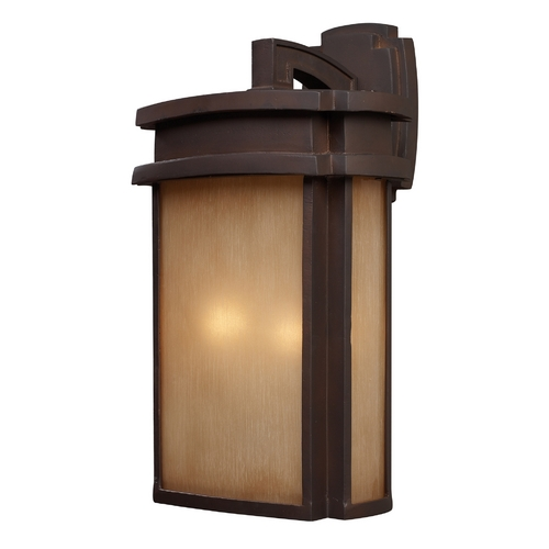 Elk Lighting Outdoor Wall Light with Beige / Cream Glass in Clay Bronze Finish 42142/2