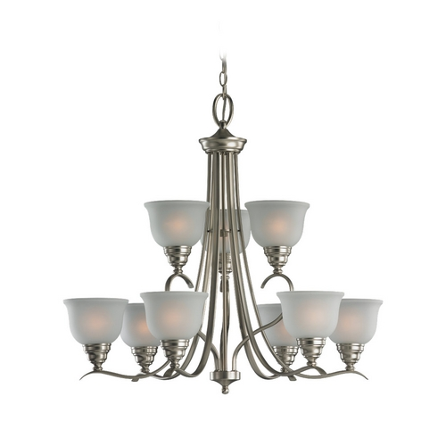 Sea Gull Lighting Chandelier with White Glass in Brushed Nickel Finish 31627BLE-962