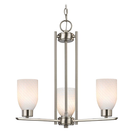 Design Classics Lighting Chandelier with White Glass in Satin Nickel - 3-Lights 1121-1-09 GL1020D