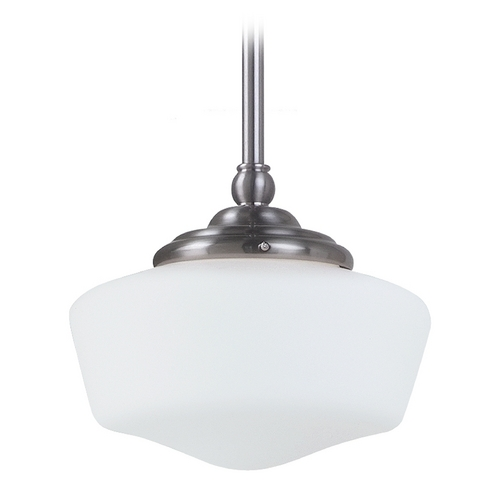 Sea Gull Lighting Schoolhouse Mini-Pendant with White Glass in Brushed Nickel Finish 65436BLE-962