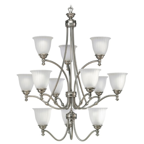 Progress Lighting Progress Chandelier with White Glass in Antique Nickel Finish P4510-81
