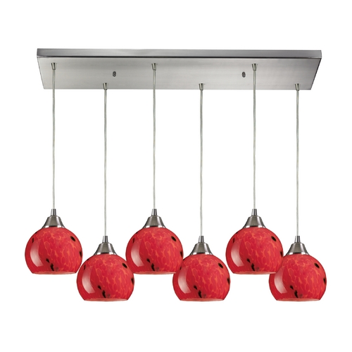 Elk Lighting Modern Multi-Light Pendant Light with Red Glass and 6-Lights 101-6RC-FR