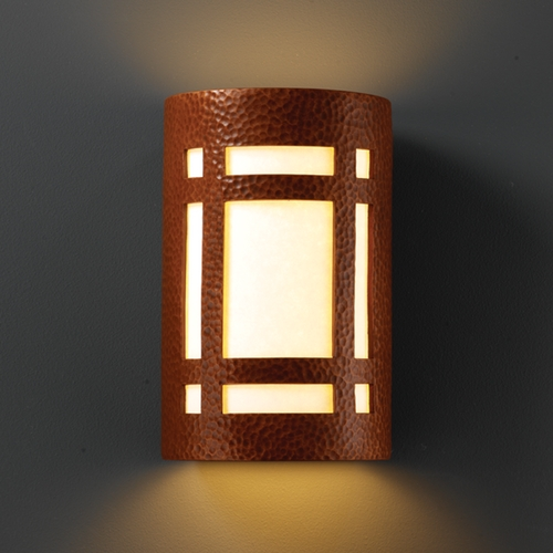 Justice Design Group Sconce Wall Light with White in Hammered Copper Finish CER-5495-HMCP