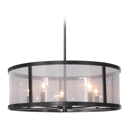 Craftmade Lighting Craftmade Danbury Matte Black Pendant Light with Drum Shade 36795-MBK