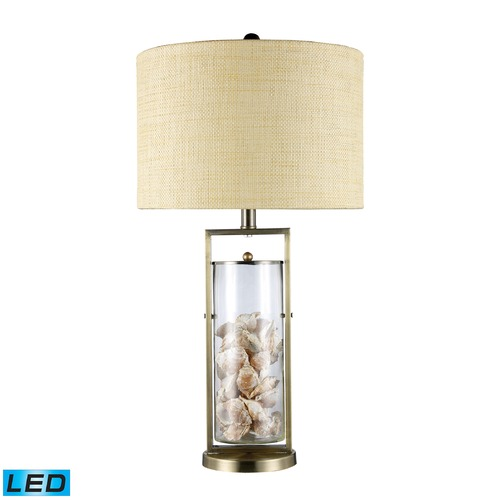 Dimond Lighting Dimond Lighting Antique Brass, Clear Glass LED Table Lamp with Drum Shade D1978-LED