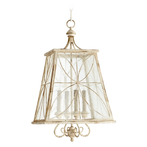 Quorum Lighting Quorum Lighting Salento Persian White with Mystic Silver Pendant Light with Square Shade 6816-4-70