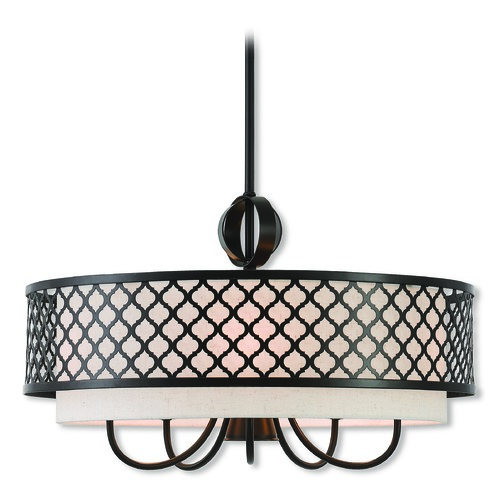 Livex Lighting Livex Lighting Arabesque English Bronze Pendant Light with Drum Shade 41116-92