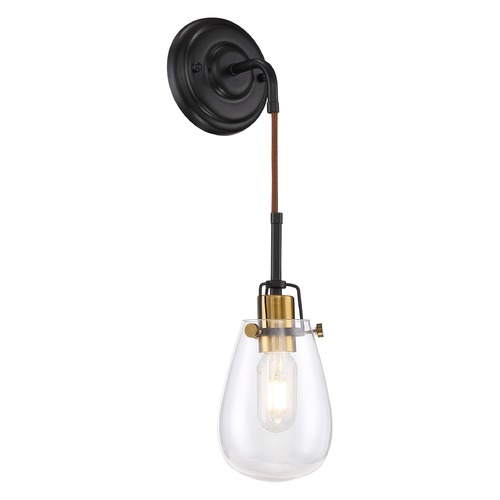 Nuvo Lighting Satco Lighting Toleo Black / Vintage Brass Accents Sconce 60/6851