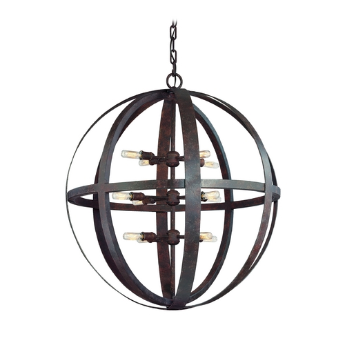 Troy Lighting Orb Pendant Light in Weathered Iron Finish - 12-Lights F2518WI