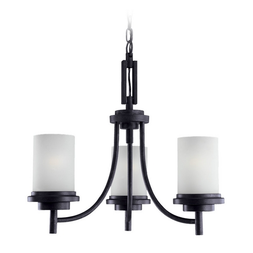 Sea Gull Lighting Sea Gull Lighting Modern 3-Light Mini Chandelier with White Glass in Blacksmith 31660-839