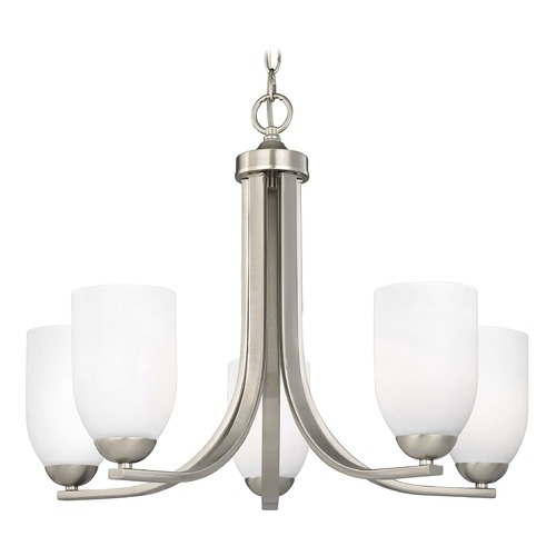 Design Classics Lighting Satin Nickel Chandelier with White Dome Glass Shades and Five Lights 584-09 GL1028D